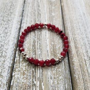 Faceted Red Agate Elastic Bracelet